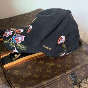 bebe Accessories - Bebe black floral baseball cap